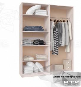 Спальный гарнитур «Лилия» МДФ Шкаф 4-х створчатый (дуб атланта/лен белый)