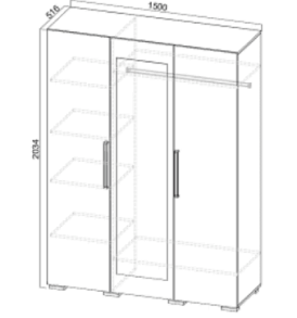 Спальня  «Лагуна- 2″ Шкаф 3х дверный