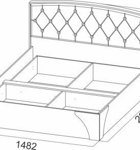Спальня  «Лагуна- 7″  Кровать двойная универсальная  1,40 пуговицы. Без основания!