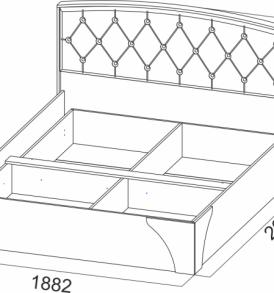 Спальня  «Лагуна- 7″  Кровать двойная универсальная  1,80 стразы