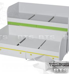 Модульная детская » Мамба» Кровать 2х ярусная с ящиками ( КР-06)