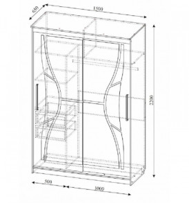 Спальня  «Лагуна- 5″ Шкаф- купе №16 1.50  м